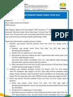 Pengumuman Pendaftaran China Tour 2012
