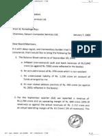 Satyam Raju's Good Bye Letter to BSE