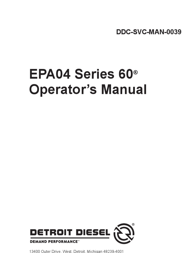 Detroit Series 60 Operation Manual