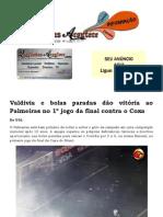 Valdivia e bolas paradas dão vitória ao Palmeiras no 1º jogo da final contra o Coxa