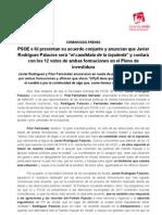 IU y PSOE Presentan Su Acuerdo de Cara a La Investidura