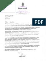 Letter to Caroline Lucas From Damien Green