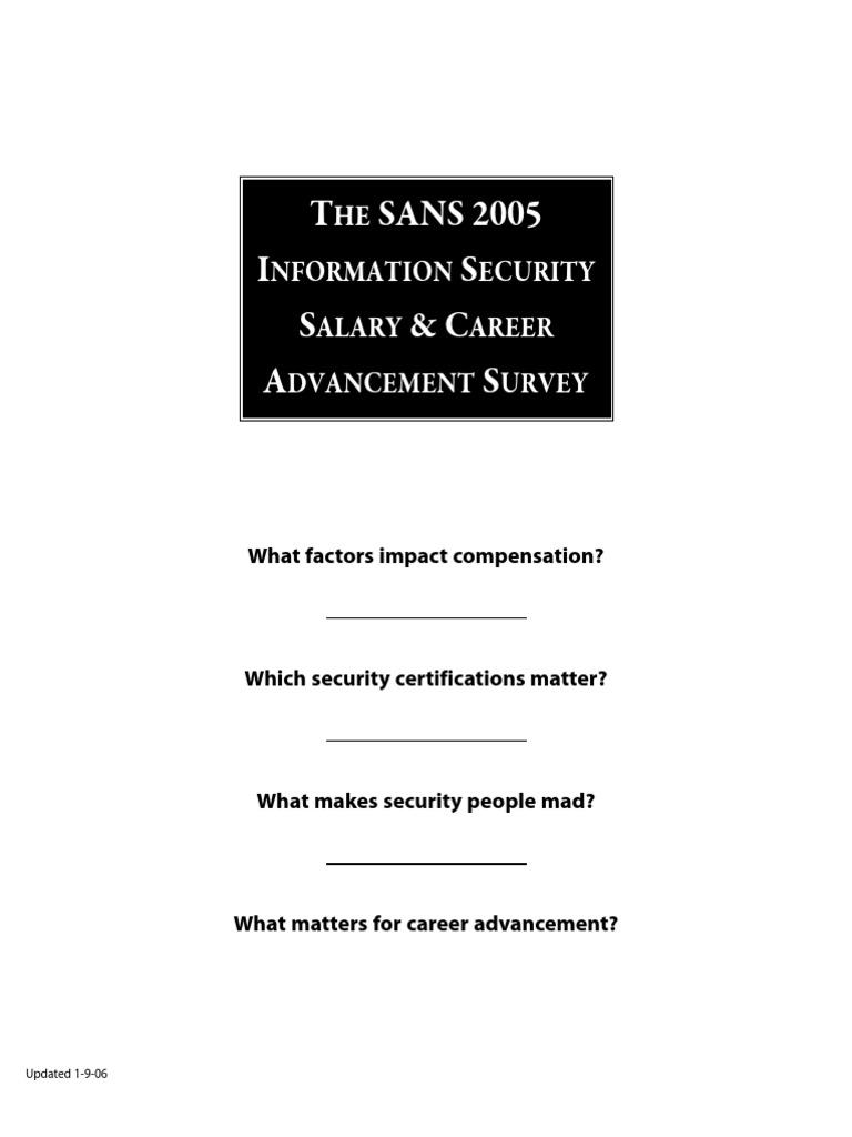 Salary 2005 comp tia information security 1betcityfo Gallery
