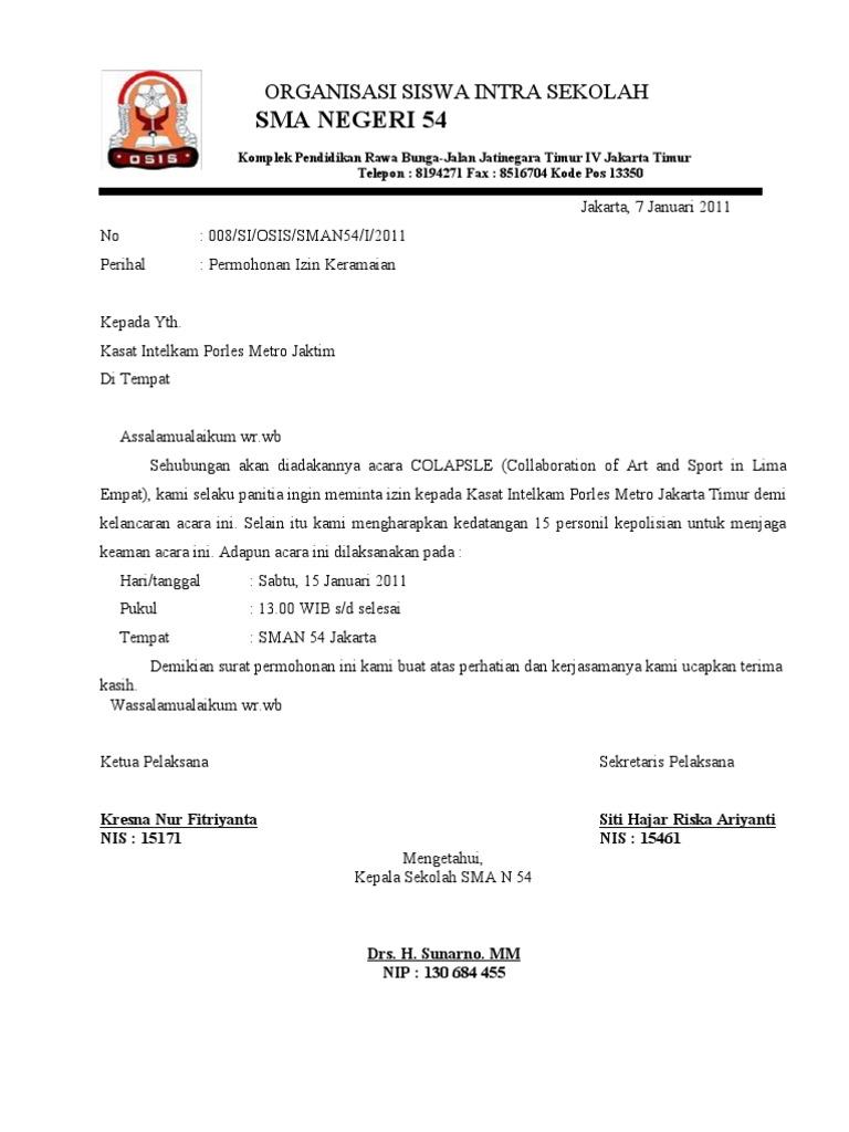 44 Berikut Contoh Surat Izin Jalan Jalan Sekolah Download Zip Doc
