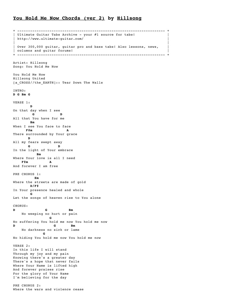 You Hold Me Now Chords Ver 15 by Hillsong Tabs at Ultimate Guitar ...