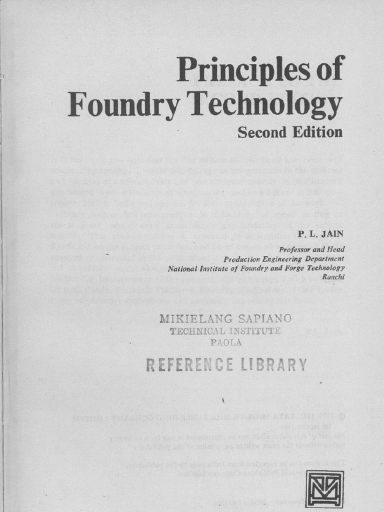 Principles Of Foundry Technology Foundry Casting