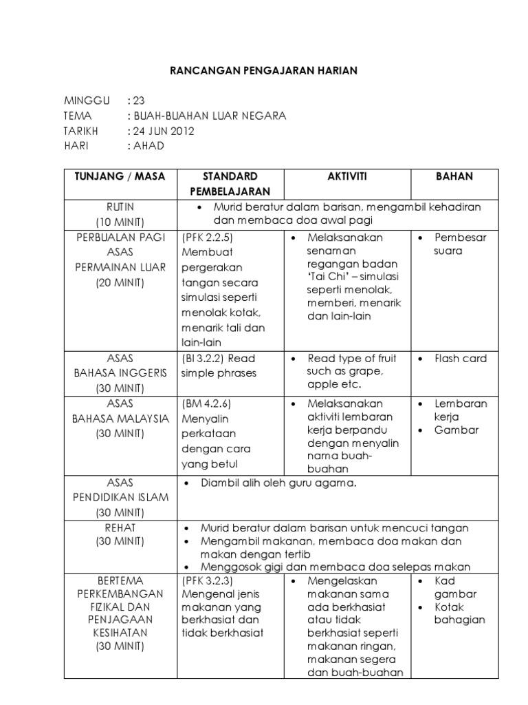 Contoh Rancangan Pengajaran Harian Prasekolah
