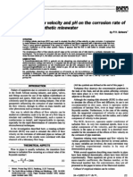 The Effects of Flow Velocity and pH on the Corrosion Rate of Msteel in Minewater