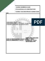 COURSE TITLE:DETAILS OF CONSTRUCTION top sheet