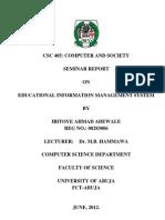 Ahmad Ibitoye Seminar Report
