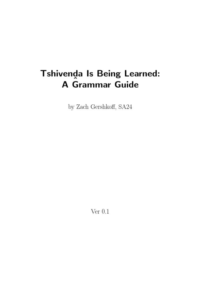 Tshivenda Is Being Learned Noun English Language