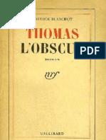 Thomas l Obscur M Blanchot 1950