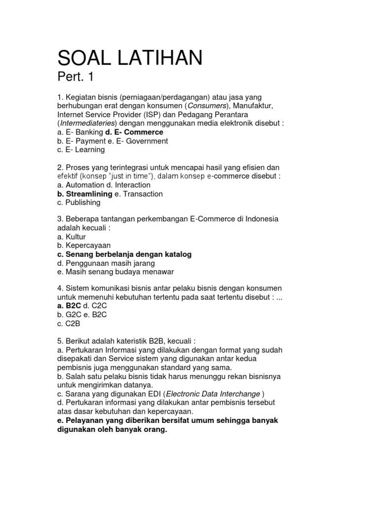 Soal Latihan E Commerce