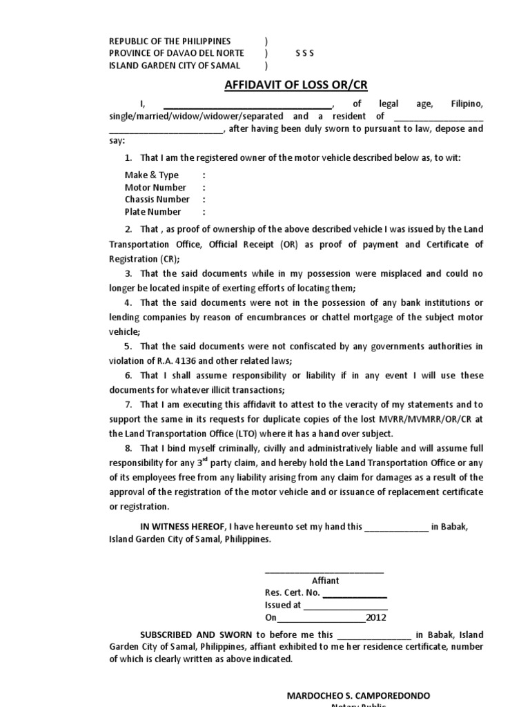 Affidavit of Loss LTO Format – Affidavit of Loss Template