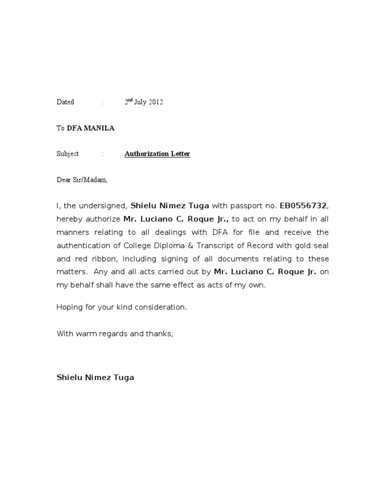 Authorization Letter DFA – Example of Authorization Letter