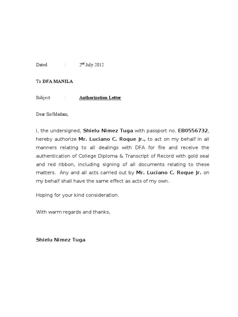 Authorization Letter DFA – Sample Passport Authorization Letter