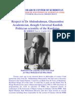 Respect to Kurdish Academician Dr Abdul Rahman Ghassemlou