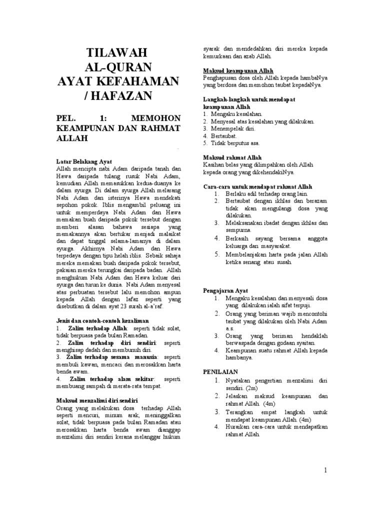 Nota Pendidikan Islam Tingkatan 3