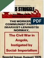 Ο εμφύλιος στην Αγκόλα υποκινημένος από το ρώσικο σοσιαλιμπεριαλισμό - ΚΚ των Εργατών της Νορβηγίας (μαρξιστικό - λενινιστικό) - 1976