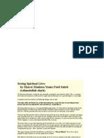 Saving Spiritual Lives by Hazrat Maulana Yunus Patel R.a.