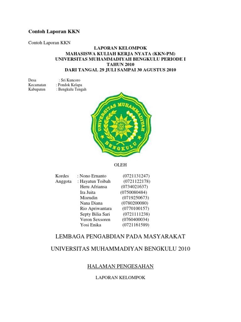 Contoh Laporan Kkn Individu Fakultas Ekonomi Akuntansi Kumpulan Contoh Laporan