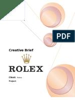 Creative Brief - Rolex (Copy Writing, TYBMM)