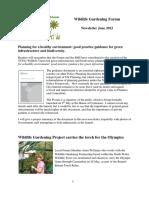 Wildlife Gardening Forum Newsletter, June 2012