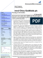 Broker Note, Central China Goldfields, 21/02/2007 (Hanson Westhouse)