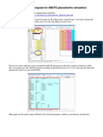 Tutorial Excel Program for ANSYS Piezoelectric Simulation
