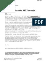 Nouriel Roubini Speech IMF 2006
