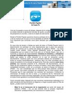 Carta Del Grupo Municipal Partido Popular a Los Trabajadores del Ayuntamiento.