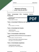 Resumen prensa CEU-UCH 09-07-2012
