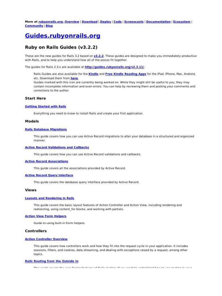 Ruby on Rails Guides (v3 2 2): Start Here