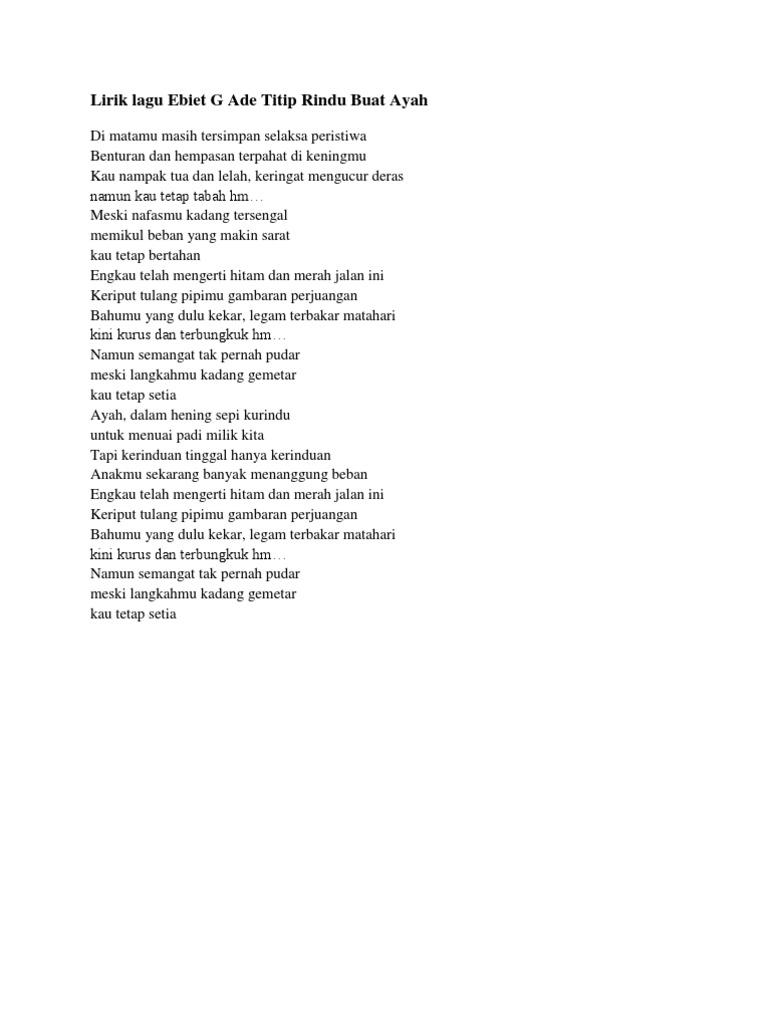 Lagu Ebiet Gad Titip Rindu Untuk Ayah