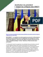 Roumanie, destitution du président enclenchée, malgré les critiques des ONG?!