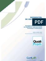 QUALIPROM _référentiel de Certification. CERTIVEA2007