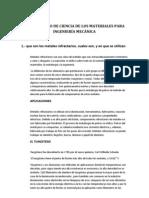 CUESTIONARIO DE CIENCIA DE LOS MATERIALES PARA INGENIERÍA MECÁNICA