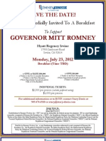 Breakfast  for Romney Victory Inc.