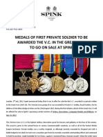 Medals Of First Private Soldier To Be Awarded The V.C. In The Great War To Go On Sale At Spink