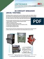 Miniature Circuit Breaker IEC 60898 is 8828 Test Bench