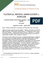 National Mining Association v Fowler No 02-5041