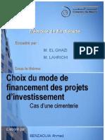 Choix Du Mode de Financement Des Projets Dinvestissement Cas Dune Cimenterie