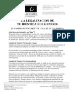 La Legalizacion de tu Identidad de Genero
