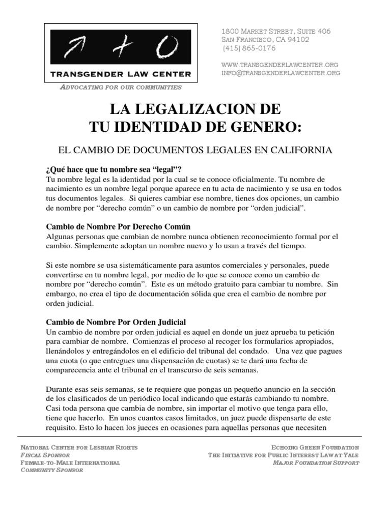 La Legalizacion de tu Identidad de Genero: El Cambio De Documentos ...