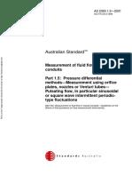 As 2360.1.5-2001 Measurement of Fluid Flow in Closed Conduits Pressure Differential Methods - Measurement Usi
