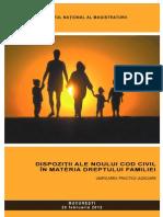 Institutul Naţional al Magistraturii, Dispoziţii ale noului Cod civil în materia dreptului familiei - unificarea practicii judiciare - 2012