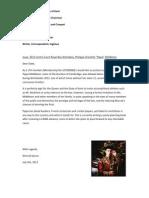 Letter to Duke of Kent Regarding Philippa Middleton | Nimrod Kamer | 10.7.2012