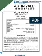 62001 Letter Opener Manual