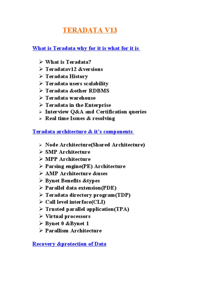 Teradata V13 Developer Course Content Database Index Sql