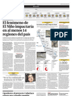 El fenómeno de El Niño impactará en al menos 14 regiones del país